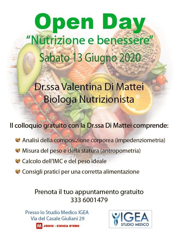 """Open day """"Nutrizione e benessere"""""""
